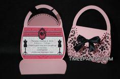 Purse shaped invitations     #invitations #fashioninvitations #pink