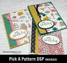 Quick & easy cards using Stampin' Up! Pick a Pattern Designer Series Papers.