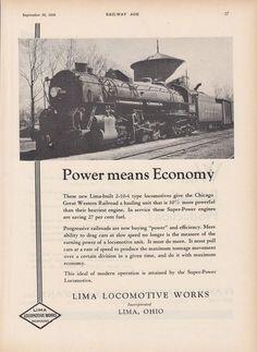 1930 Lima Ad: CGW Chicago Great Western Railway #860 2-10-4 Type Locomotive