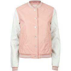 Pink Contrast Sleeve Leather-Look Baseball Jacket (€16) ❤ liked on Polyvore featuring outerwear, jackets, tops, casacos, print jacket, sport jacket, imitation leather jacket, sports jacket and vegan leather jacket