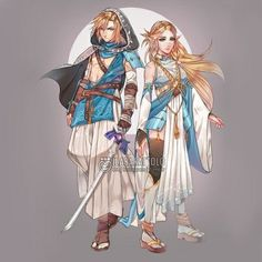 Link & Zelda Wild looking like  Japanese feudal era I think