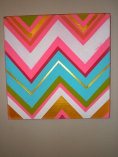 Rainbow chevron wall decor, black white and green for the bedroom. Cute Crafts, Crafts To Do, Arts And Crafts, Chevron Wall Decor, Chevron Art, Die Macher, Wal Art, Rainbow Chevron, Crafty Craft