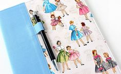 Journal cover for composition notebooks -  includes pen - Vintage Dresses on Etsy, $14.00