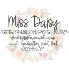 Miss Daisy Font This script font contains all uppercase, lowercase letters, punctuation, and numbers. Hand Lettering Fonts, Doodle Lettering, Creative Lettering, Lettering Styles, Handwriting Fonts, Lettering Ideas, Penmanship, Typography, Doodle Fonts