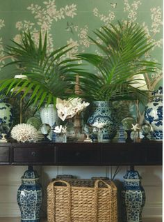 blue and white w/ palm fronds