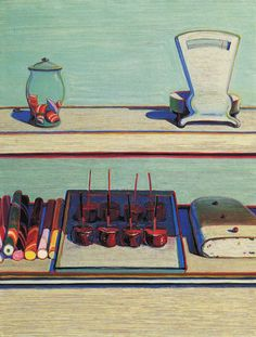 Candy Counter by Wayne Thiebaud. Wayne Thiebaud (born November 15, 1920) is an American painter whose most famous works are of cakes, pastries, boots, toilets, toys and lipsticks. He is associated with the Pop art movement because of his interest in objects of mass culture, although his works, executed during the fifties and sixties, slightly predate the works of the classic pop artists.