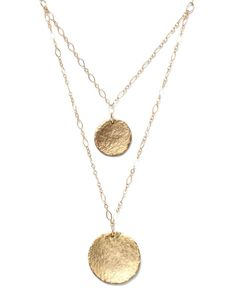 Purchase Double Strand Hammered Disc Necklace from Alicia Marilyn Designs on OpenSky. Share and compare all Jewelry. Modern Jewelry, Metal Jewelry, Jewelry Case, Jewelry Box, Unique Necklaces, Jewelry Necklaces, Jewellery, Bracelets, Hammered Gold