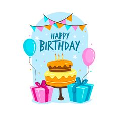Happy birthday background with cake and gifts Free Vector Birthday Wishes For Kids, Happy Birthday Wallpaper, Birthday Wishes Messages, Happy Belated Birthday, Birthday Tags, Happy Birthday Images, Happy Birthday Greetings, Birthday Pictures, Birthday Greeting Cards