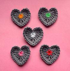 La mamá de vicarno: Corazones engancha haakpatroontje libre / ganchillo pequeños corazones: patrón de crochet libre