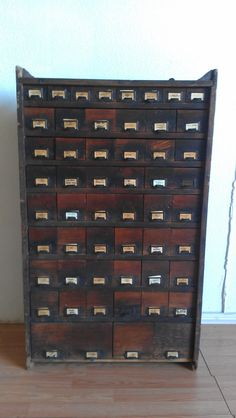 UNUSUAL Country General Store Antique Primitive Hardware Multi Drawer Cabinet