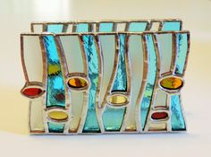 Summer vertical napkin holder Stained glass napkin by SimplyVered