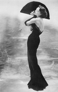 Ivy Nicholson in a a slim gown by Maggy Rouff, 1953, photo by Henry Clarke