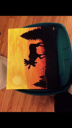 Sunset moose silhouette painting