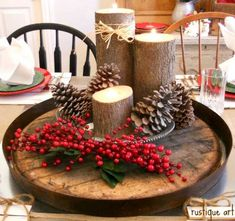 lazy susan - old barrel top and log candle holders