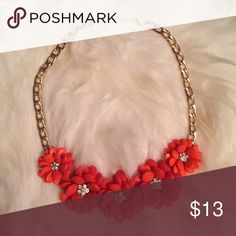 """Orange Daisy Statement Necklace! Adorable Statement Necklace just in time for Spring. I love this necklace with a dress, a sweater, or dresses down with denim! Measures 16"""" from clasp to clasp. Perfect addition to any outfit! 🌼✨ Jewelry Necklaces"""