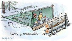 Talviretkeily – laavu ja rakovalkea, keywords:  talviretkeily retkeilijät yöpyminen majoitus majoite laavu rakovalkea leirituli tuuli tuulensuoja makuupussi piirros