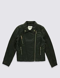 Select the latest girls' coats & jackets at M&S. Featuring faux fur animal print, thermal parkas and faux leather biker jackets. Leather Jacket For Girls, Winter Leather Jackets, Motorcycle Jacket, Biker, Bomber Jacket, Girl M, Girls Winter Coats, Tween, Kids Girls