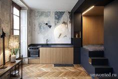 Встроенная спальня стала популярным решением для современных маленьких квартир. Обзавелись встроенным спальным местом и эти маленькие апартаменты, ремонтом которых занималась французская Batiik Studio.   #маленькие квартиры
