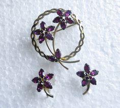 Vintage A & Z Purple Rhinestone Brooch Earrings Set 12k Gold via Etsy @GotMilkGlassAnd