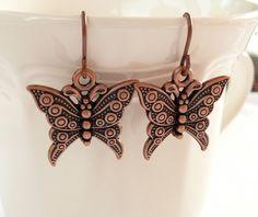 Beautifully Detailed Copper Butterfly Dangle by mizlisasdesigns