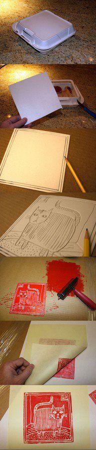 xilografia com embalagem de isopor