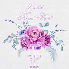 Violet Floral Art Hand Painted Watercolour Clipart von ReachDreams