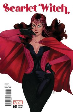 Kevin Wada's cover to Scarlet Witch is simple in the composition but it complements the typeface which is sans serif and it's organic with the illustration.
