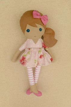 Fabric Doll Rag Doll Light Brown Haired Girl Doll in Pink and