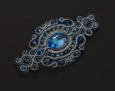 Soutache brooch Elettra by PaolaGriffoSoutache on Etsy