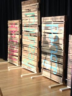 Stage decorations - pallets with truth! Roseau, MN - Girls Rock Event