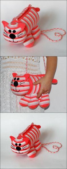 Diy Crochet Handbag Pink Cat Free Pattern