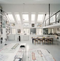 Office - floor to ceiling shelves + industrial style  I want this office for all my art work!! I would fill it fast!!