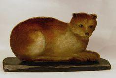 two sided cat dummy board folk art 19th century