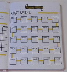 This cute Bullet Journal layout tracker is perfect for weekly weigh in to track weight loss progress! Discover how to use your Bullet Journal for Weight Loss by setting specific goals, tracking your progress, measuring your results! Bullet Journal Tracker, Bullet Journal For Weight Loss, Bullet Journal Workout, Bullet Journal Notebook, Fitness Journal, Bullet Journal Inspo, Bullet Journal Ideas Pages, Bullet Journal Spread, Journal Pages