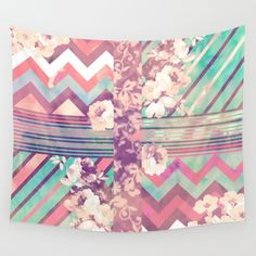 Buy Retro Pink Turquoise Floral Stripe Chevron Pattern Wall Tapestry by Girly Trend. Worldwide shipping available at Society6.com. Just one of millions of high quality products available.