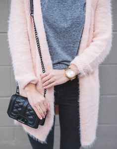 "blush pink cardigan + rebecca minkoff  ""love mini crossbody"" / LivvyLand"