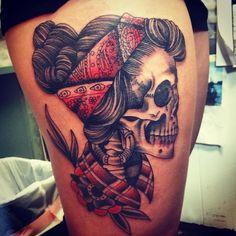 By Billy @boldbillybracey of @downtowntattoosnola #bandana #skull #louisiana…