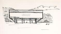 #15 Manoel da Nóbrega Pavilion (now Afro Brasil museum), 1954, by Oscar Niemeyer in São Paulo, Brazil // sketchingin.wordpress.com
