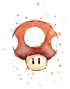 Mario de Mario rouge aquarelle Art Print Nintendo par OlechkaDesign