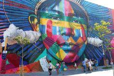Rio de Janeiro: andando de VLT e conhecendo o mural Etnias, de Kobra