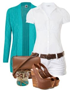 I love this color combo for summer. Teal, white, and brown leathers