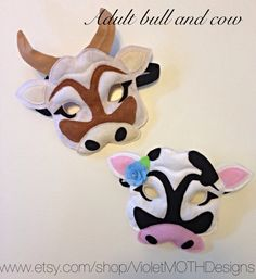 Cow Mask, Bull Mask, Felt Plush, Adult Size (children's available)