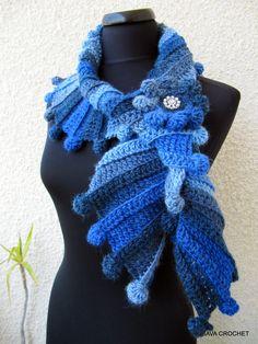 Gorgeous Crochet Scarf Pattern - Blue Multicolor Blue Scarf With Flower Modern Crochet Fashion - Lyubava Crochet Design, via Etsy. #crocheting #crochetscarf #crochetpattern