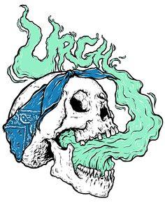 Tupac Skull - Urgh on Behance Cartoon Drawings, Easy Drawings, Skull Drawings, Smoke Drawing, Skull Illustration, Skull Artwork, Hip Hop Art, Arte Horror, Hippie Art
