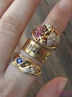 Rare antique gold Mizpah and snake rings from the Victorian period, all from Doyle & Doyle.