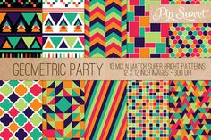 Geometric Party 10 Pattern Set Graphics 10 mix and match geometric patterns in rich and vibrant orange, turquoise, pink, green, and purple by Pip Sweet Graphic Patterns, Cool Patterns, Textures Patterns, Geometric Patterns, Business Illustration, Pencil Illustration, Geometric Background, Creative Sketches, Paint Markers
