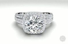 Masterwork Cushion Halo Triple Diamond Band Ring - in 18kt White Gold (0.75 CTW)