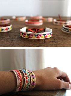 canvas embroidered bracelets