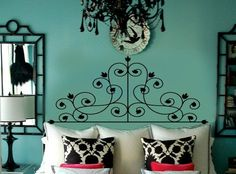Victorian Swirls Faux Wrought Iron Headboard Vinyl Wall Lettering Decal FULL size. $68.00, via Etsy.