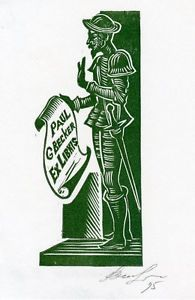 Cervantes, Don Quijote, Ex Libris Ex Libris por Vasily Hvorost, Ucrania